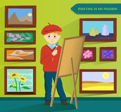 Male artist painting in his workroom. Vector. Stock Images