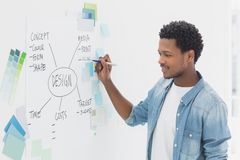 Male artist with pen in front of whiteboard Royalty Free Stock Photo