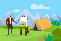 Male Artist Working on Painting Picture Outdoors. vector illustration