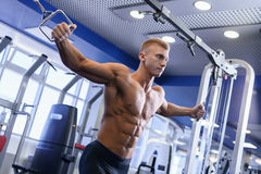 Male athlet doing sports exercises gym shot. Naked torso male athlet doing sports exercises gym shot royalty free stock images