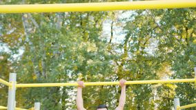 Male Athlet Pull-up Strength Training Exercise royalty free stock photos