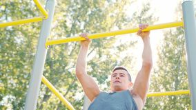 Male Athlet Pull-up Strength Training Exercise