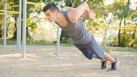 Male Athlet Push-ups Strength Training Exercise royalty free stock photos