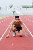 Male athlete all set before race starts. Stock Image