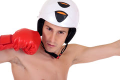 Male athlete boxer helmet Royalty Free Stock Image