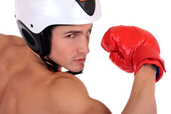 Male athlete boxer helmet Royalty Free Stock Images