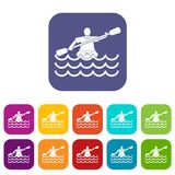 Male athlete in a canoe icons set Royalty Free Stock Images