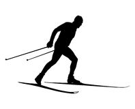 Male athlete cross country skier. Black silhouette Stock Image