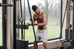 Male Athlete Doing Heavy Weight Exercise For Triceps Royalty Free Stock Photo
