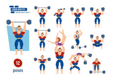 Male athlete, entertains audience, showing strength exercises with dumbbells. Big set of circus athlets concept. Male athlete, tighten belt in striped suit stock illustration
