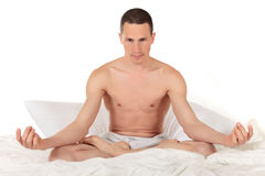 Male athlete fitness yoga Royalty Free Stock Images