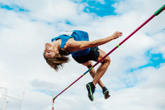 male athlete high jumper successful attempt Stock Images