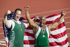 Male Athlete With Medal And American Flag Stock Photography