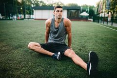 Male athlete on outdoor fitness workout royalty free stock images