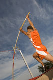Male Athlete Performing A Pole Vault  Stock Photos