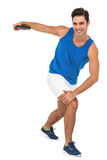Male athlete playing discus throw on white background Royalty Free Stock Photos