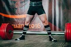 Male athlete of powerlifting competition Stock Photo