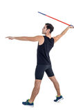 Male athlete preparing to throw javelin. On white background Royalty Free Stock Images