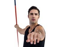 Male athlete preparing to throw javelin Royalty Free Stock Images