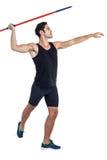 Male athlete preparing to throw javelin. On white background Stock Photos