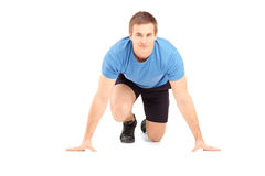 A male athlete ready to run Royalty Free Stock Images