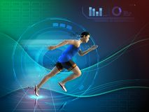 Runner with an high technology background Stock Photo