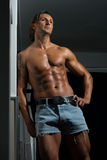 Male Athlete's Ripped Abs Stock Image