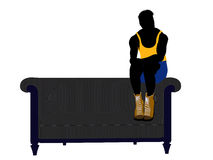 Male Athlete Sitting On A Sofa Silhouette Stock Photography