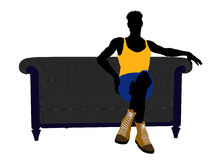 Male Athlete Sitting On A Sofa Silhouette Stock Images