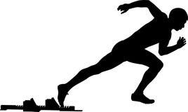 Male athlete start from starting blocks. Black silhouette of a male athlete start from starting blocks sprint vector illustration