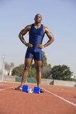 Male Athlete At Starting Block Royalty Free Stock Photo