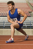 Male Athlete Stretching In Stadium. Full length of confident male athlete stretching in racing field Stock Photos