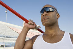 Male Athlete About To Throw Javelin Stock Photography