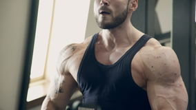Male athlete training hard in gym indoors. He does biceps dumbbell curls and dumbbell lateral raises while standing in background of mirror in premise. Young stock video