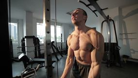 Male athlete is training his muscles. Male athlete trains his muscles with dumbbells stock footage