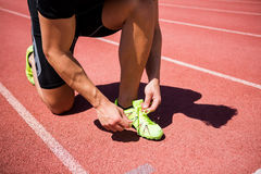 Male athlete tying his shoe laces on running track Royalty Free Stock Photos