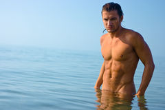 Male athlete in water Stock Photo