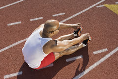 Male Athlete Working Out Before Race Stock Photography
