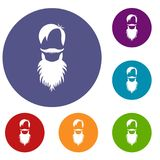 Male avatar with beard icons set Royalty Free Stock Image
