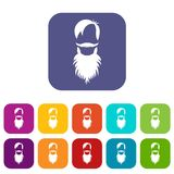 Male avatar with beard icons set Stock Images