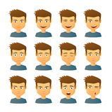 Male avatar expression set Royalty Free Stock Image