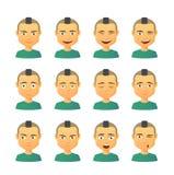 Male avatar expression set Stock Photos