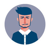 Male avatar icon in flat style. Male user icon. Cartoon man avatar. Hipster man avatar. Vector stock Stock Images
