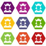 Male avatar icon set color hexahedron. Male avatar icon set many color hexahedron isolated on white vector illustration Royalty Free Stock Photos