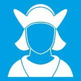 Male avatar icon white. Isolated on blue background vector illustration Royalty Free Stock Photo