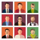 Male avatar icons in casual style Royalty Free Stock Photography