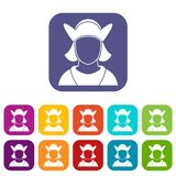 Male avatar icons set. Vector illustration in flat style in colors red, blue, green, and other Royalty Free Stock Image
