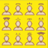 Male avatar profile icon set - head halos silhouette. Vector  illustration Royalty Free Stock Image