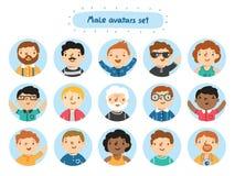 Male avatars. Set of 15 male characters avatars Royalty Free Stock Photos