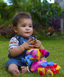 Male baby in garden Stock Image